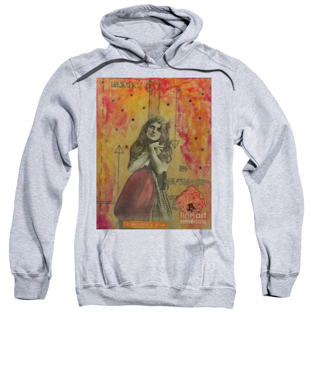 Orange Sweatshirt featuring the mixed media Wish Upon A Star by Desiree Paquette