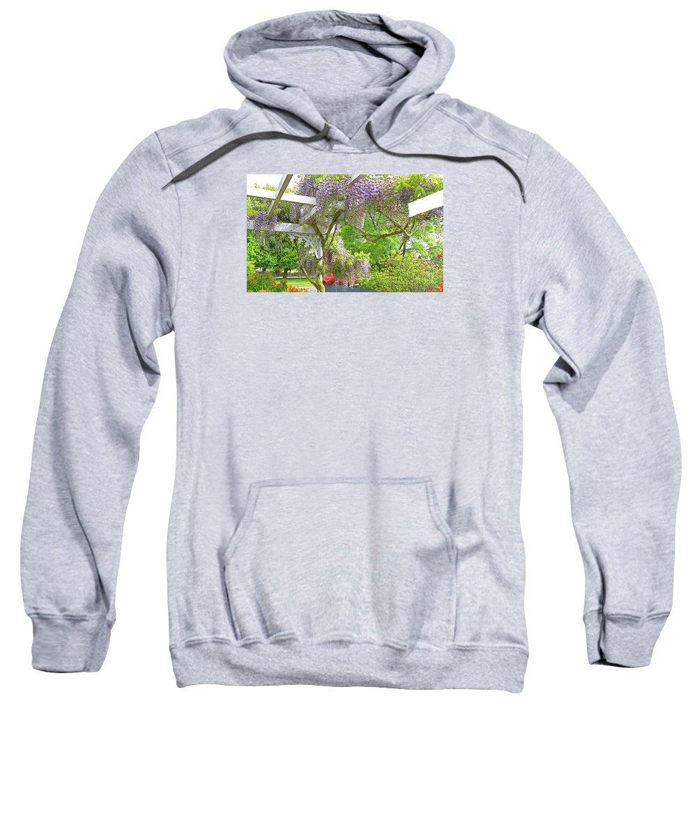Wisteria Sweatshirt featuring the photograph Wistaria On Pergola by Nareeta Martin