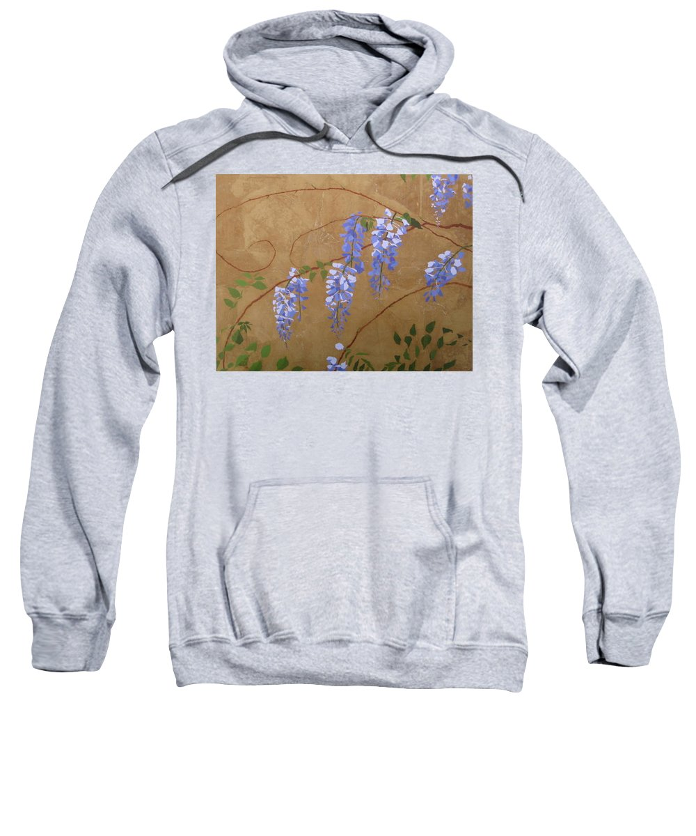 Periwinkle Wisteria Flowers Sweatshirt featuring the painting Wisteria by Leah Tomaino