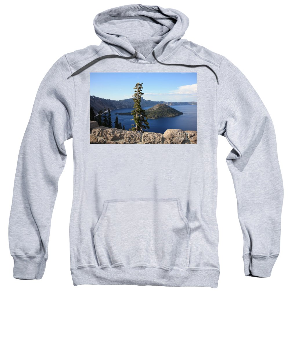 Wizard Island Sweatshirt featuring the photograph Wizard Island With Rock Fence At Crater Lake by Carol Groenen