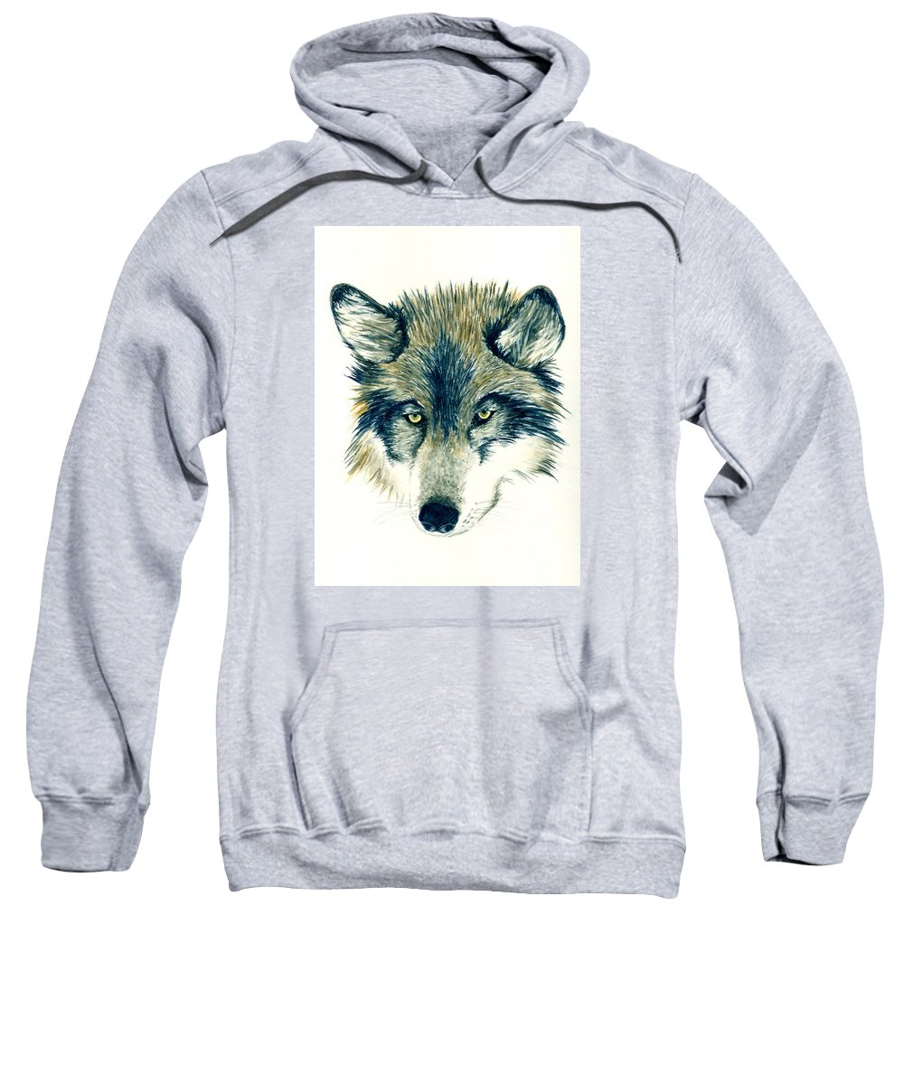 Animals Sweatshirt featuring the painting Wolf by Michael Vigliotti