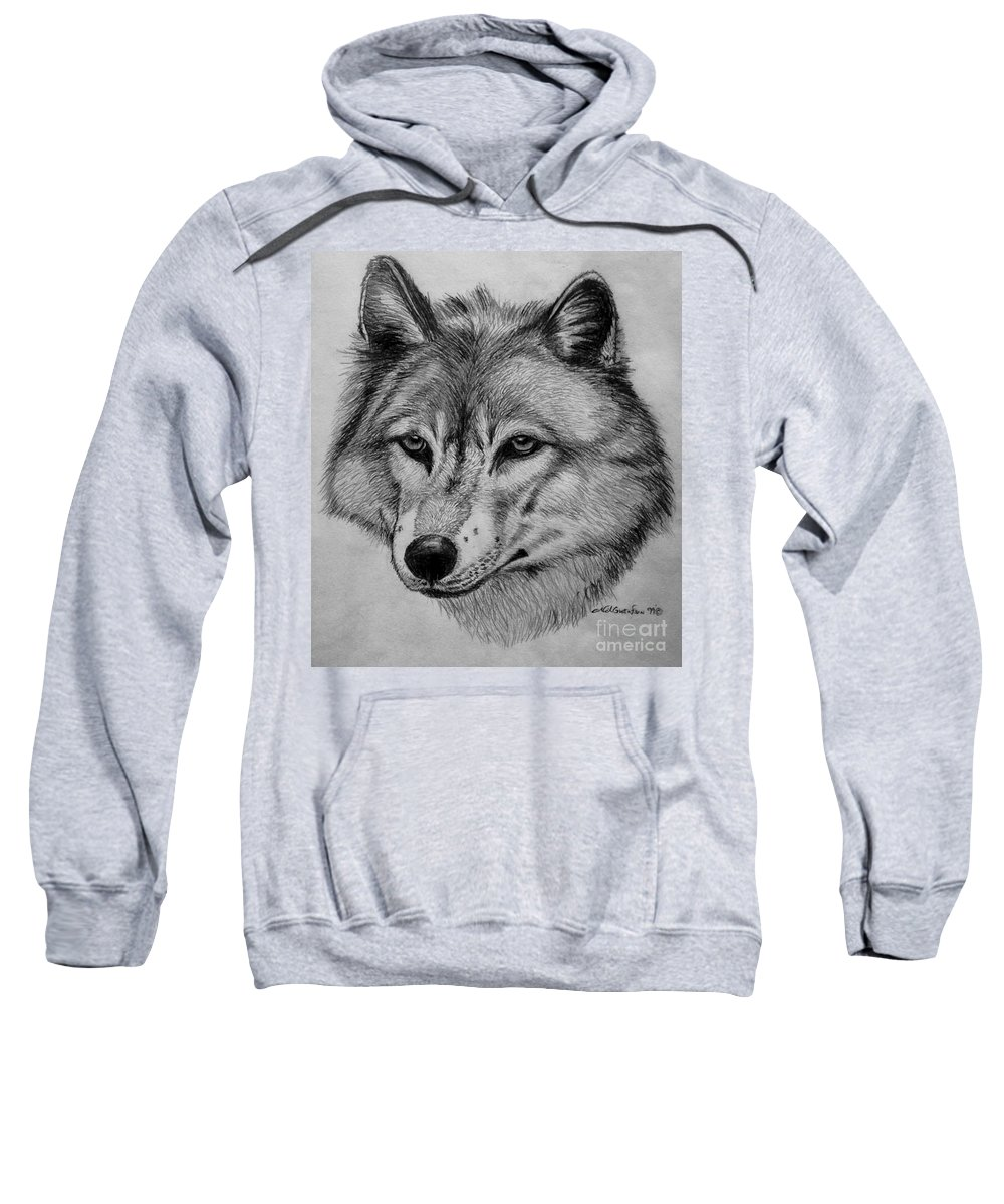 Wolf Sweatshirt featuring the drawing Wolf Sketch by Nick Gustafson