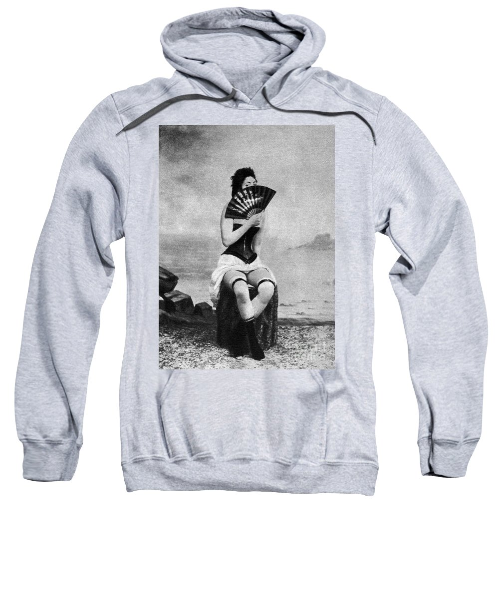 1887 Sweatshirt featuring the photograph Woman And Fan, C1887 by Granger