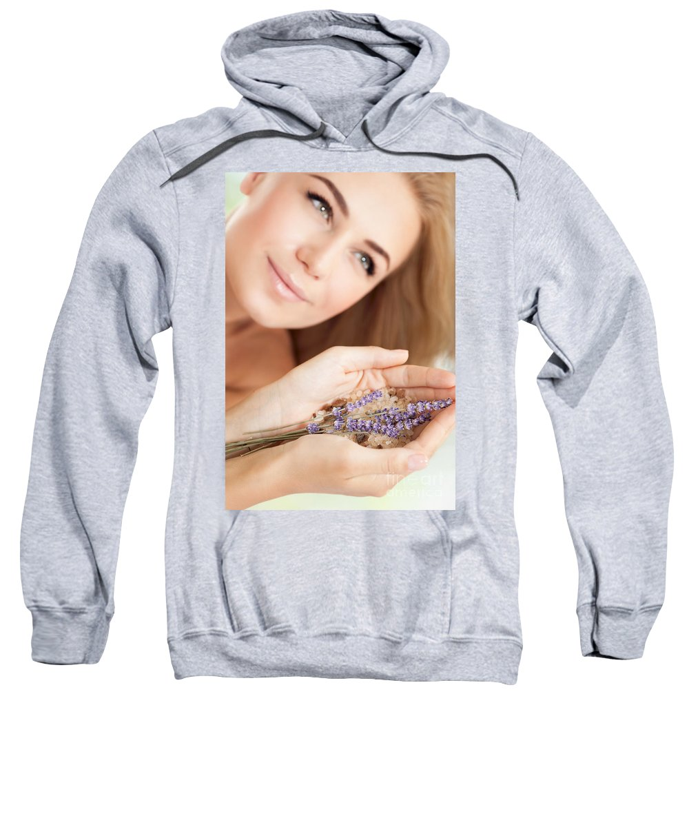 Anti-stress Sweatshirt featuring the photograph Woman At Beauty Salon by Anna Om