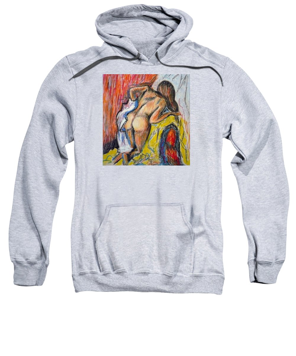 Woman Sweatshirt featuring the drawing woman drying herself by Degas by Ericka Herazo