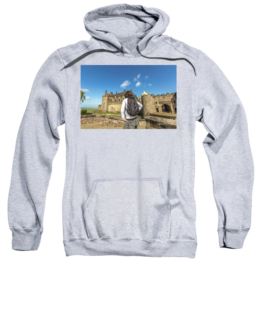 Stirling Castle Sweatshirt featuring the photograph Woman Looks The Stirling Castle by Benny Marty