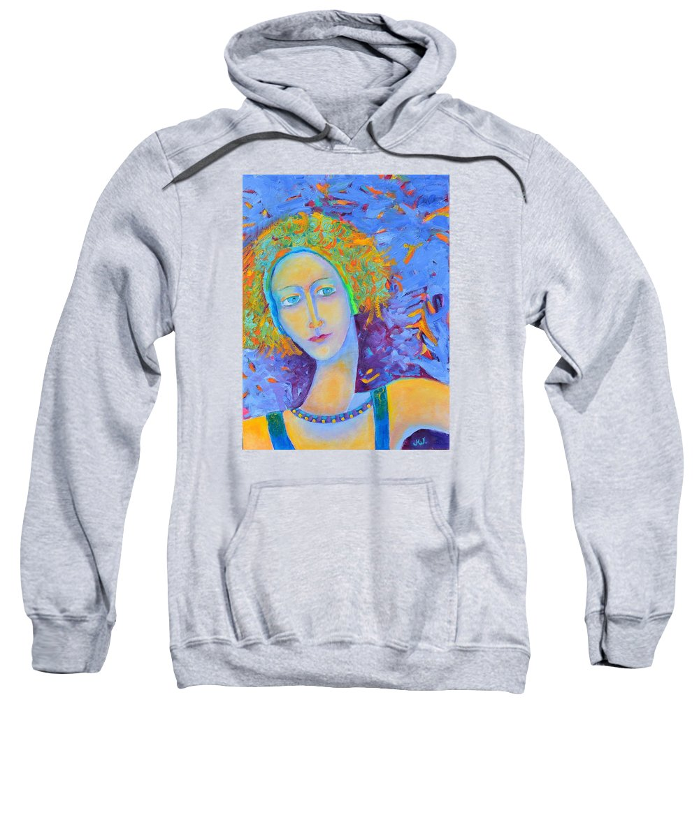Woman Portrait Sweatshirt featuring the painting Woman Oil Portrait by Magdalena Walulik