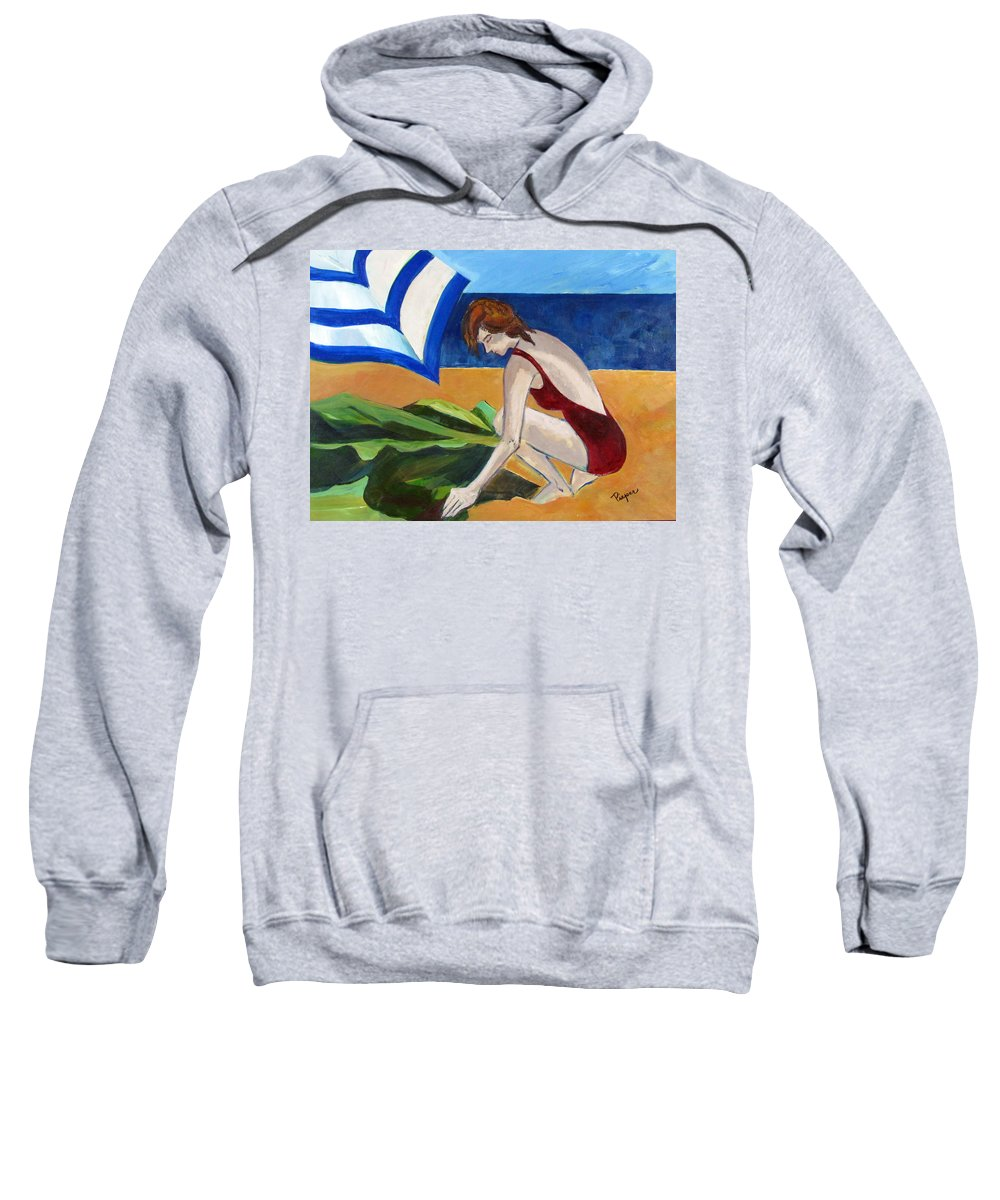 Beach Sweatshirt featuring the painting Woman On The Beach by Betty Pieper