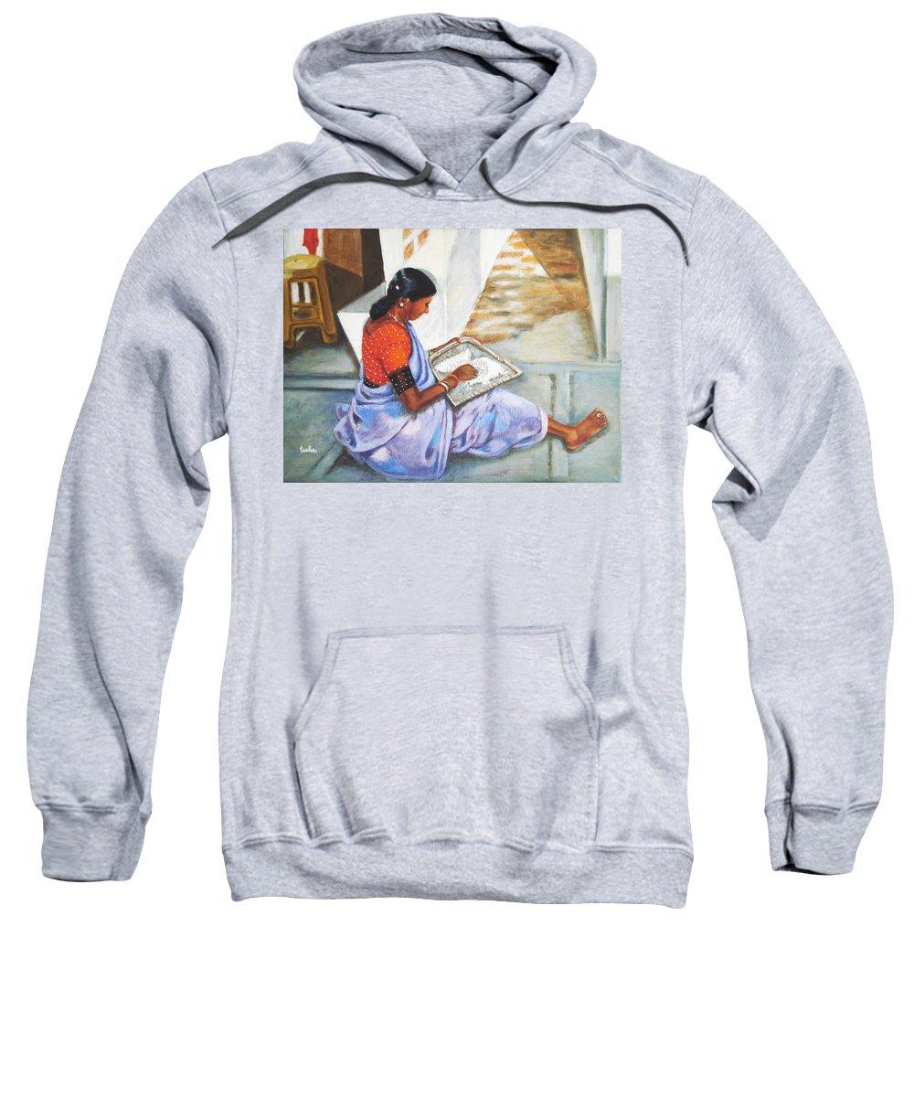 Usha Sweatshirt featuring the painting Woman Picking Rice by Usha Shantharam