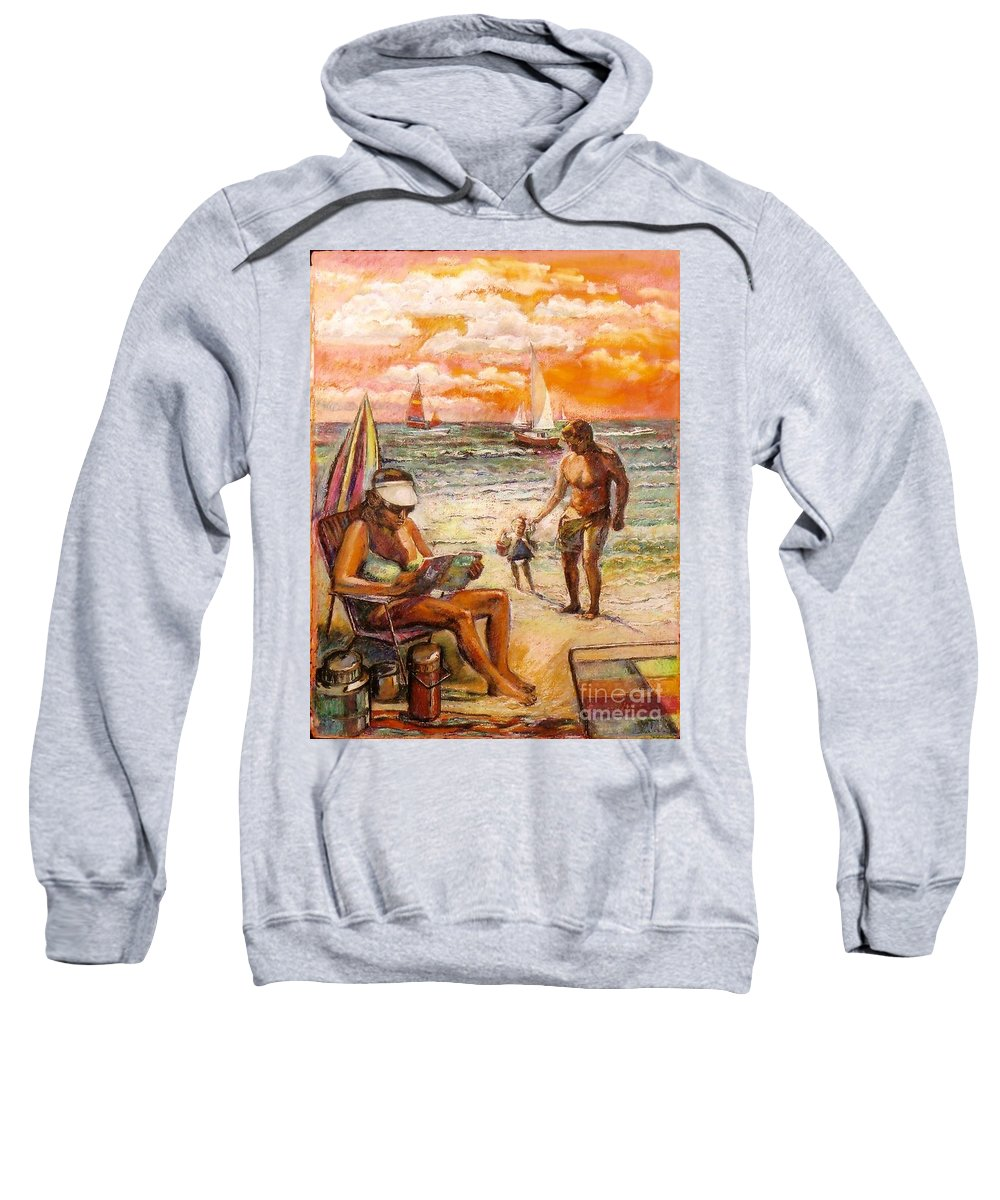 Beach Scene Sweatshirt featuring the painting Woman Reading On The Beach by Stan Esson