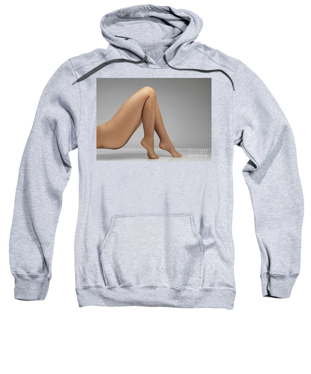 Pantyhose Sweatshirt featuring the photograph Woman Wearing Pantyhose by Oleksiy Maksymenko