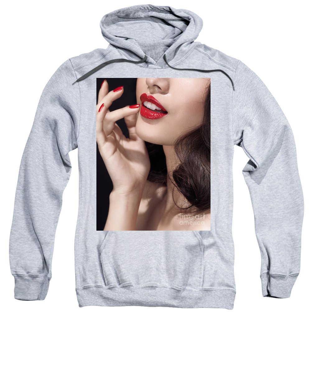 Lips Sweatshirt featuring the photograph Woman With Red Lipstick Closeup Of Sensual Mouth by Oleksiy Maksymenko