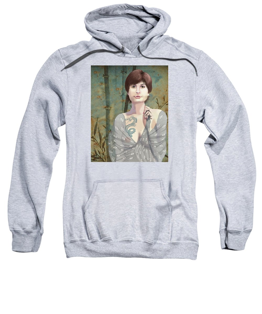 Illustration Sweatshirt featuring the digital art Woman With Tattoo by Lois Boyce
