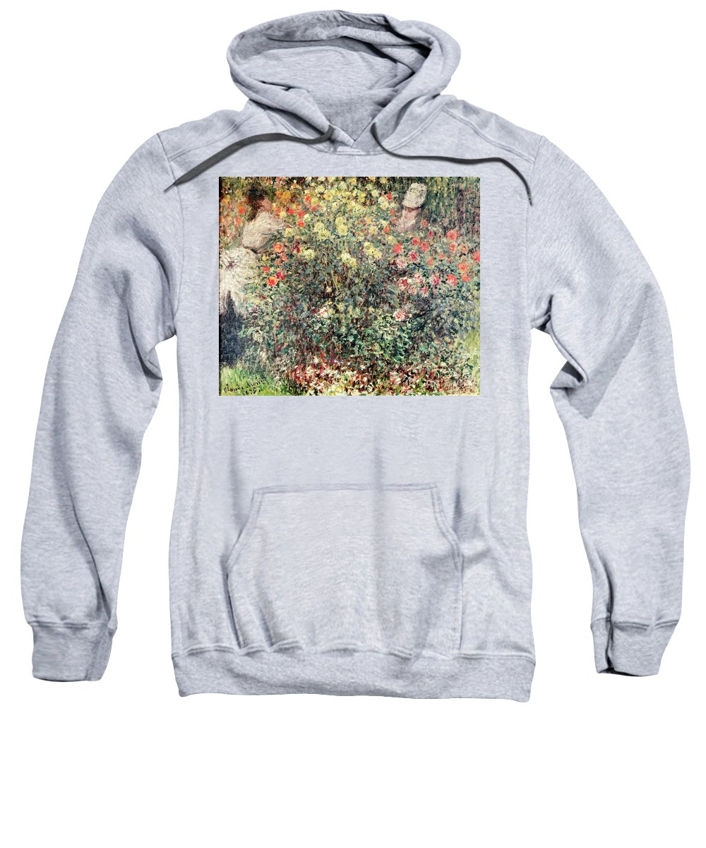 Women In The Flowers Sweatshirt featuring the painting Women In The Flowers by Claude Monet