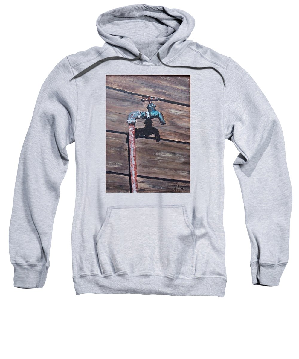 Still Life Metal Old Wood Sweatshirt featuring the painting Wood And Metal by Natalia Tejera