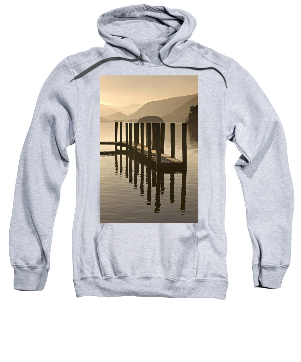 Calm Sweatshirt featuring the photograph Wooden Dock In The Lake At Sunset by John Short