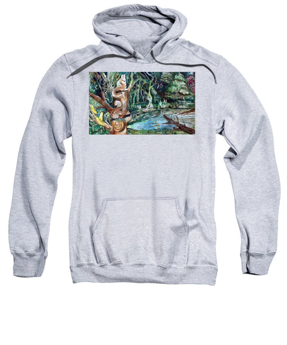 Squirrels Sweatshirt featuring the painting Woodland Critters by Mindy Newman