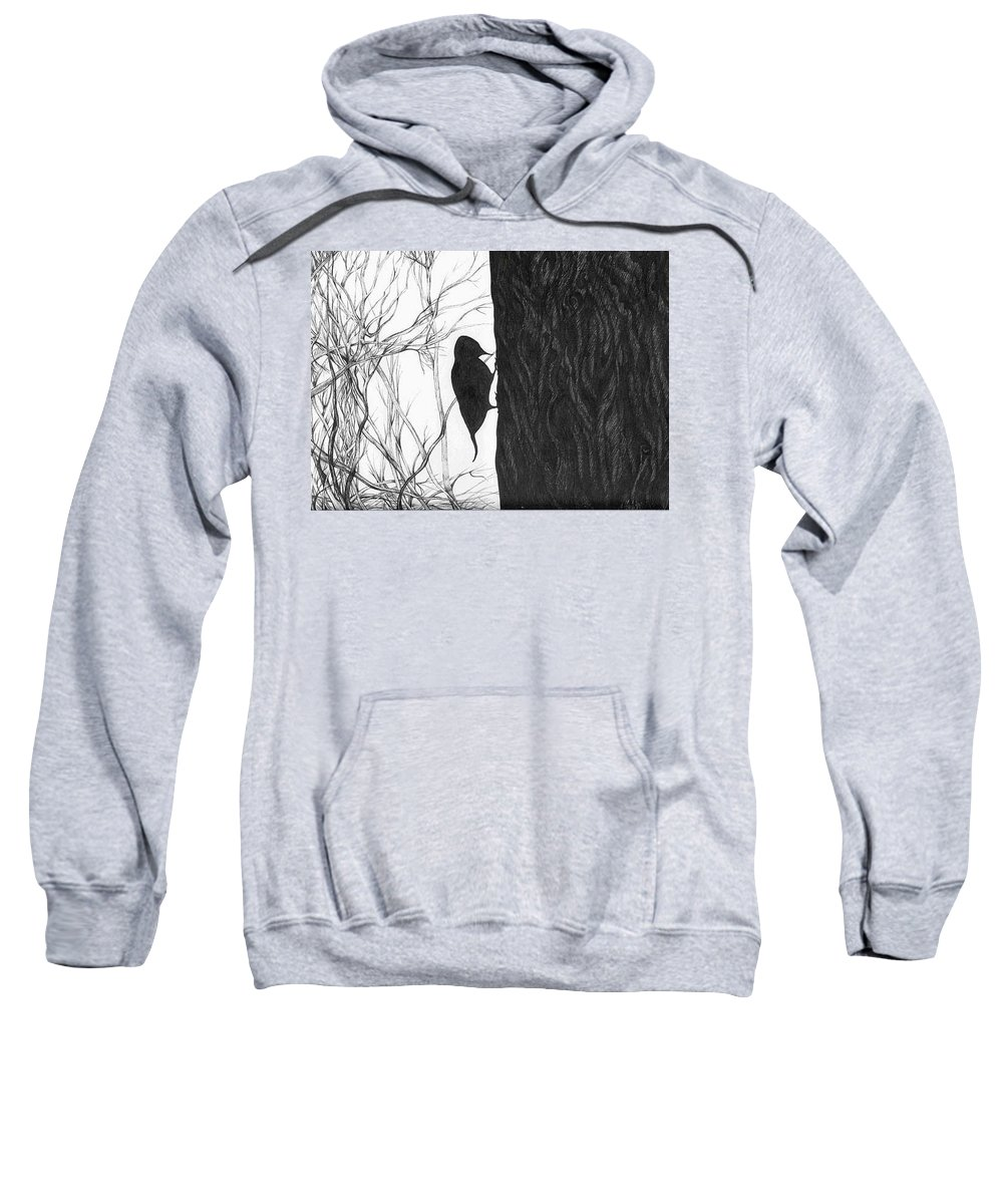 Pen And Ink Sweatshirt featuring the drawing Woodpecker by Anna Duyunova