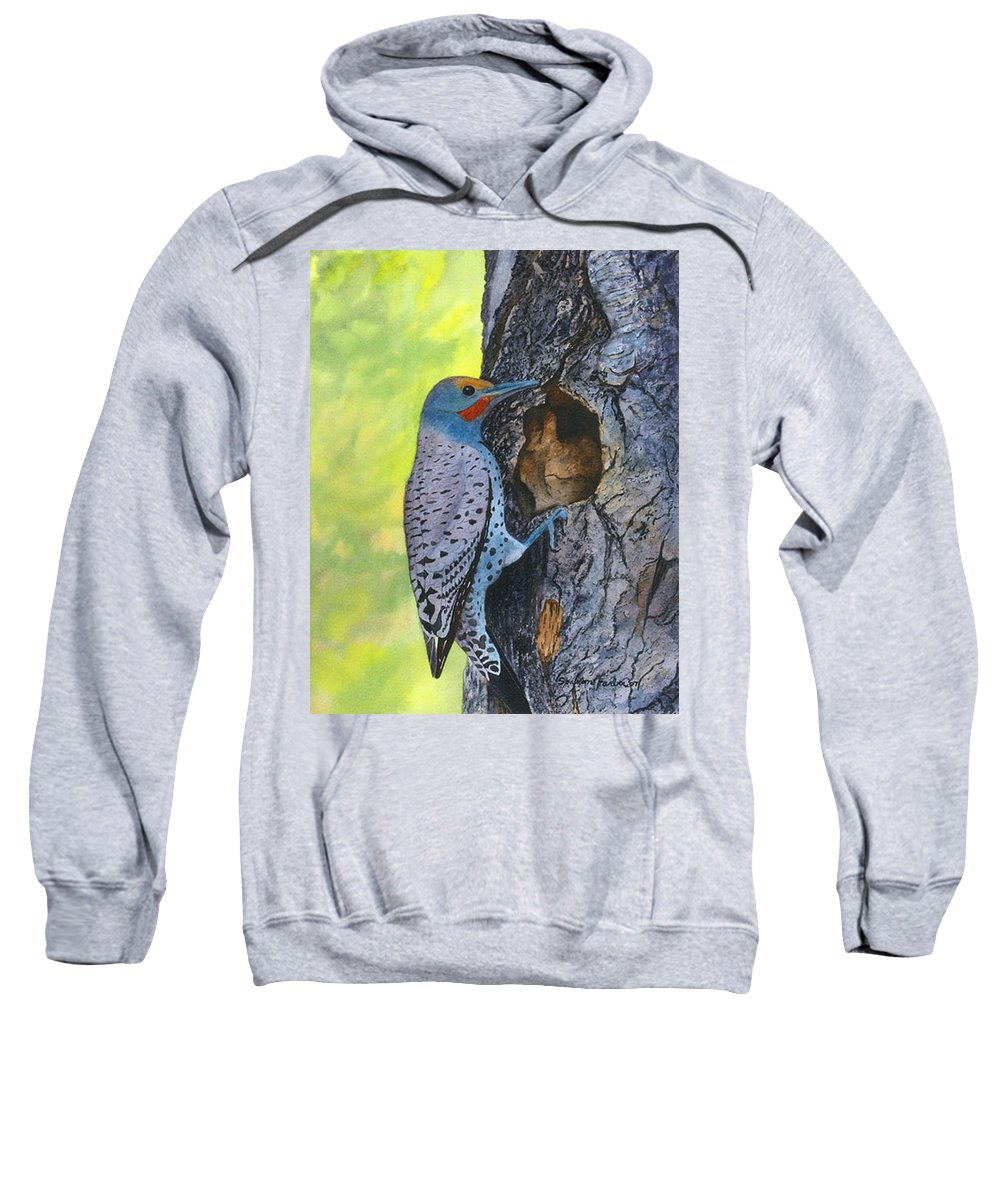 Woodpecker Sweatshirt featuring the painting Woodpecker by Sharon Farber