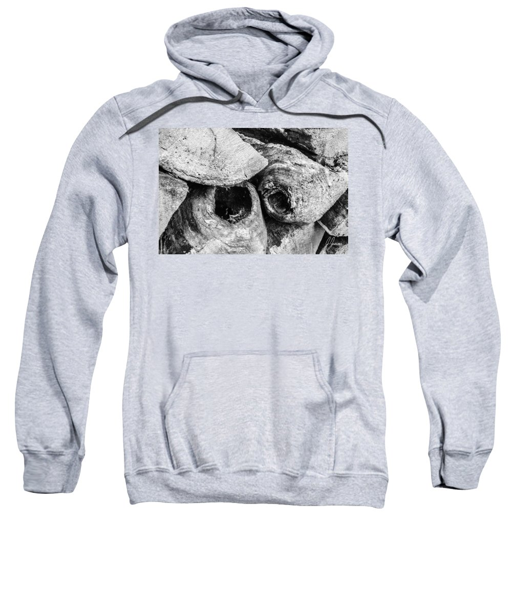 Woodpile Sweatshirt featuring the photograph Woodpile Caves by Joshua Zaring