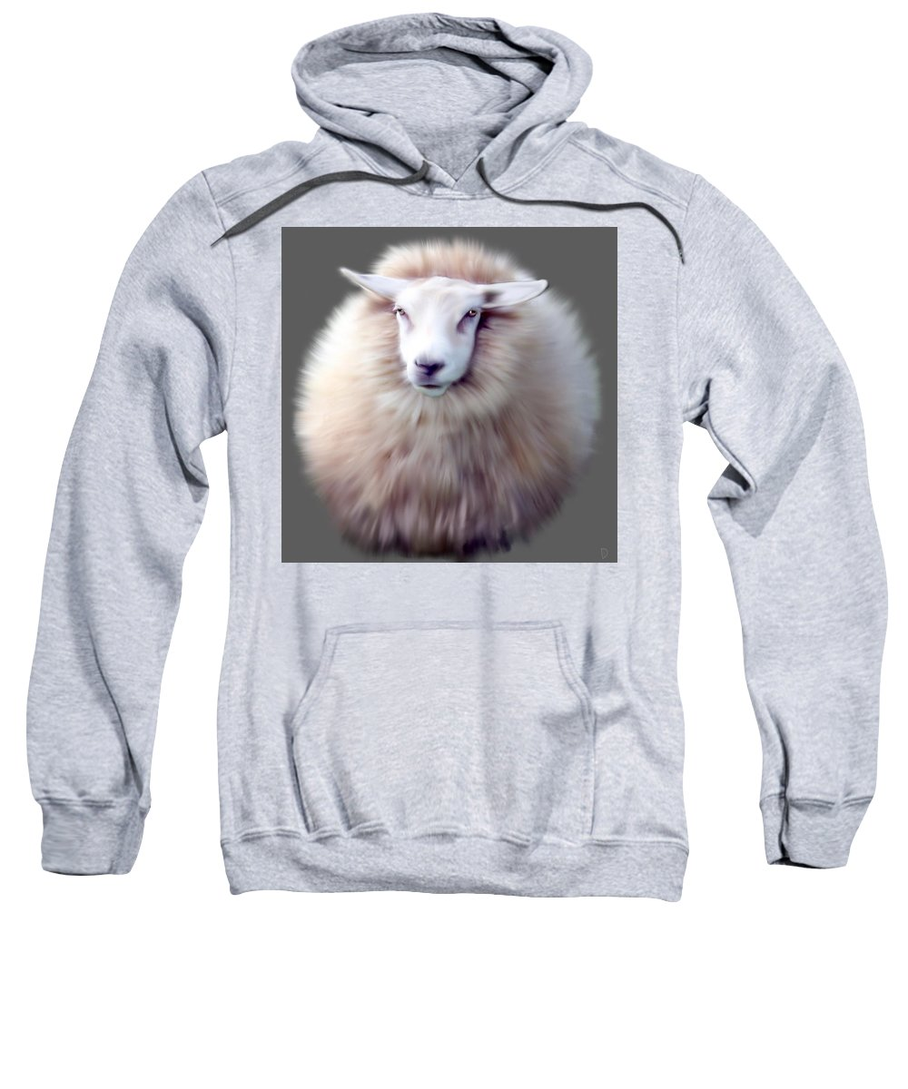 Sheep Sweatshirt featuring the painting Woolly by Dave H