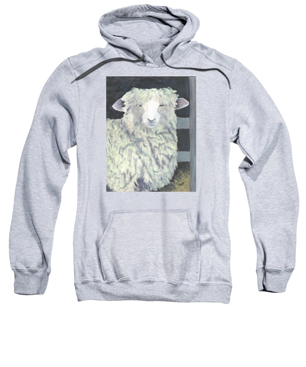 Sheep Paintings Sweatshirt featuring the painting Wooly One by Deborah Butts