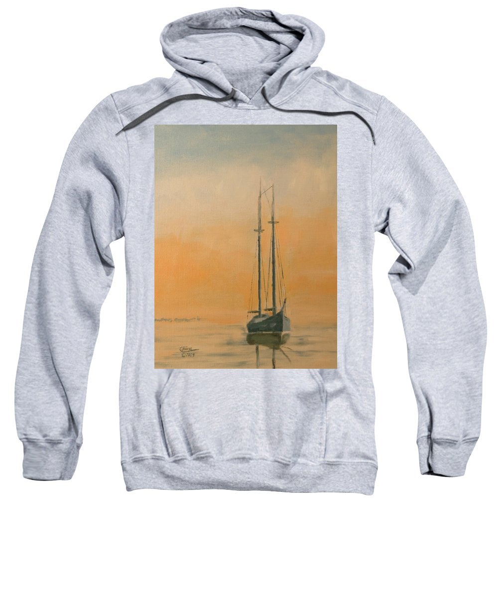 Boat Sweatshirt featuring the painting Work Boat At Rest by Christopher Jenkins