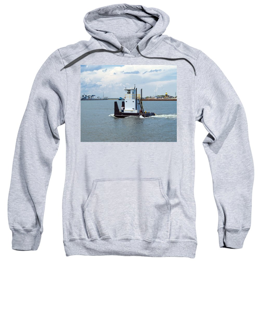 Florida; Tug; Tugboat; Boat; Work; Workboat; Pusher; Push; Barge; Barges; Working; Float; Floating; Sweatshirt featuring the photograph Workboat At Port Canaveral In Florida by Allan Hughes