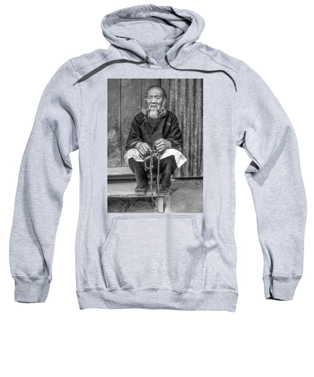 Tibetan Sweatshirt featuring the photograph Working Hands Bw by Steve Harrington