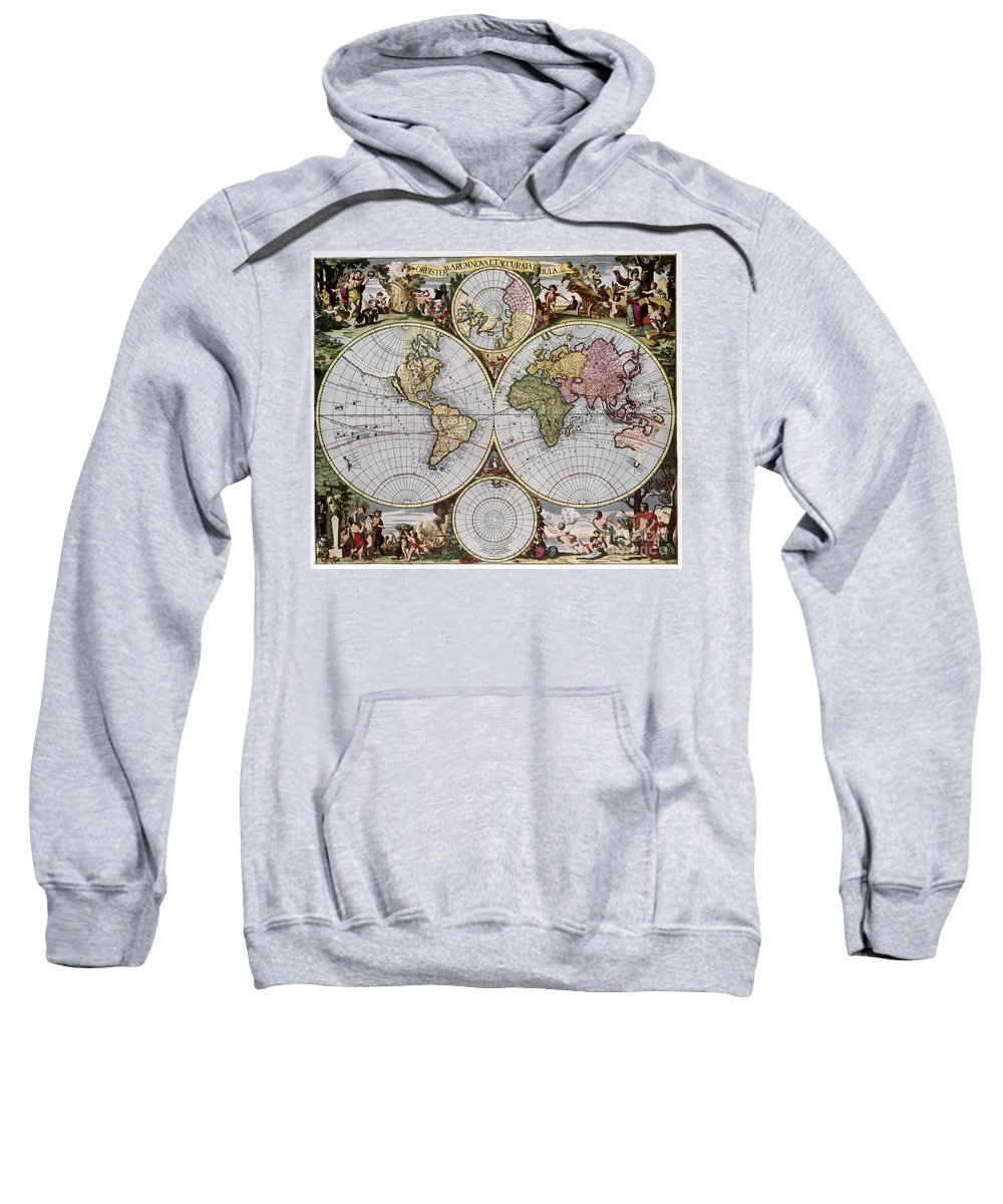 1690 Sweatshirt featuring the photograph World Map, C1690 by Granger