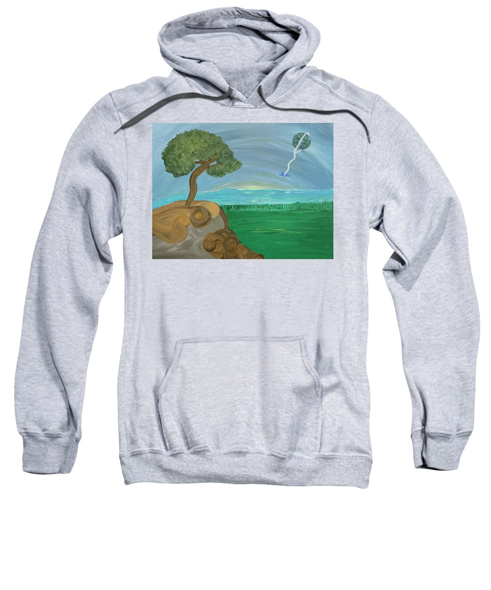 Landscape Sweatshirt featuring the painting World On A String by Sara Credito