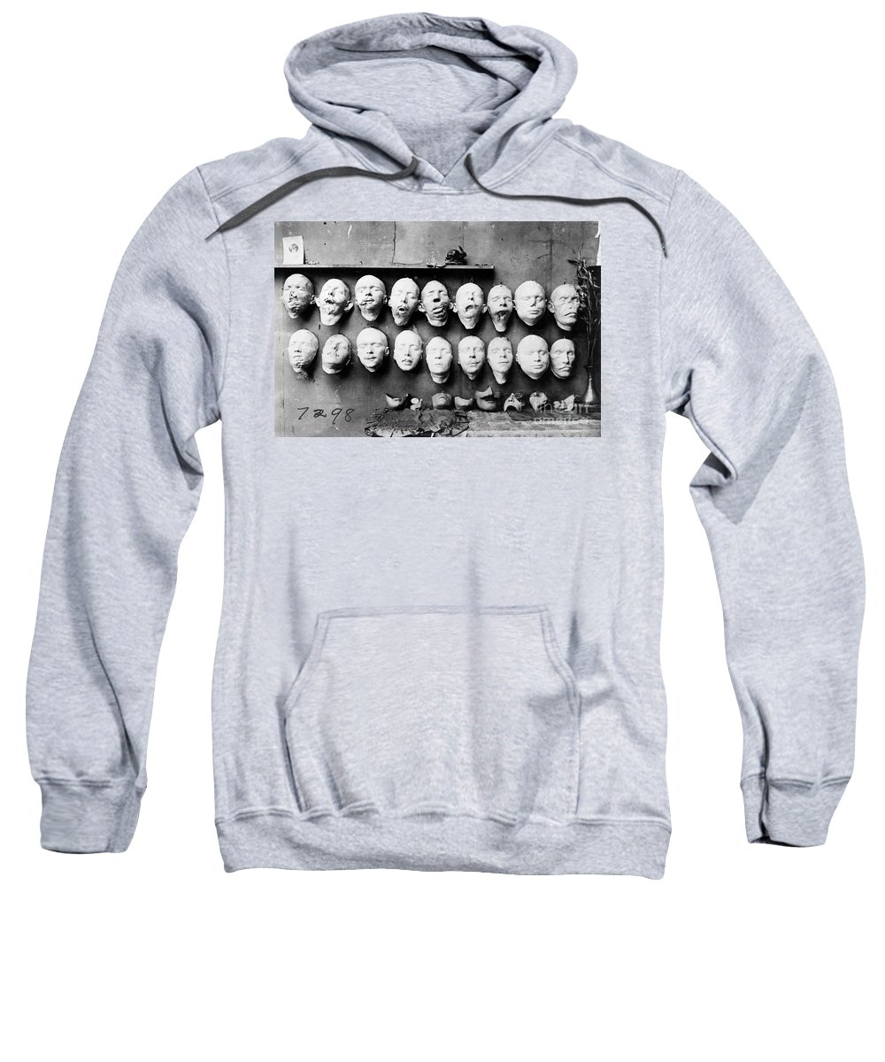 1918 Sweatshirt featuring the photograph World War I Masks, 1918 - To License For Professional Use Visit Granger.com by Granger