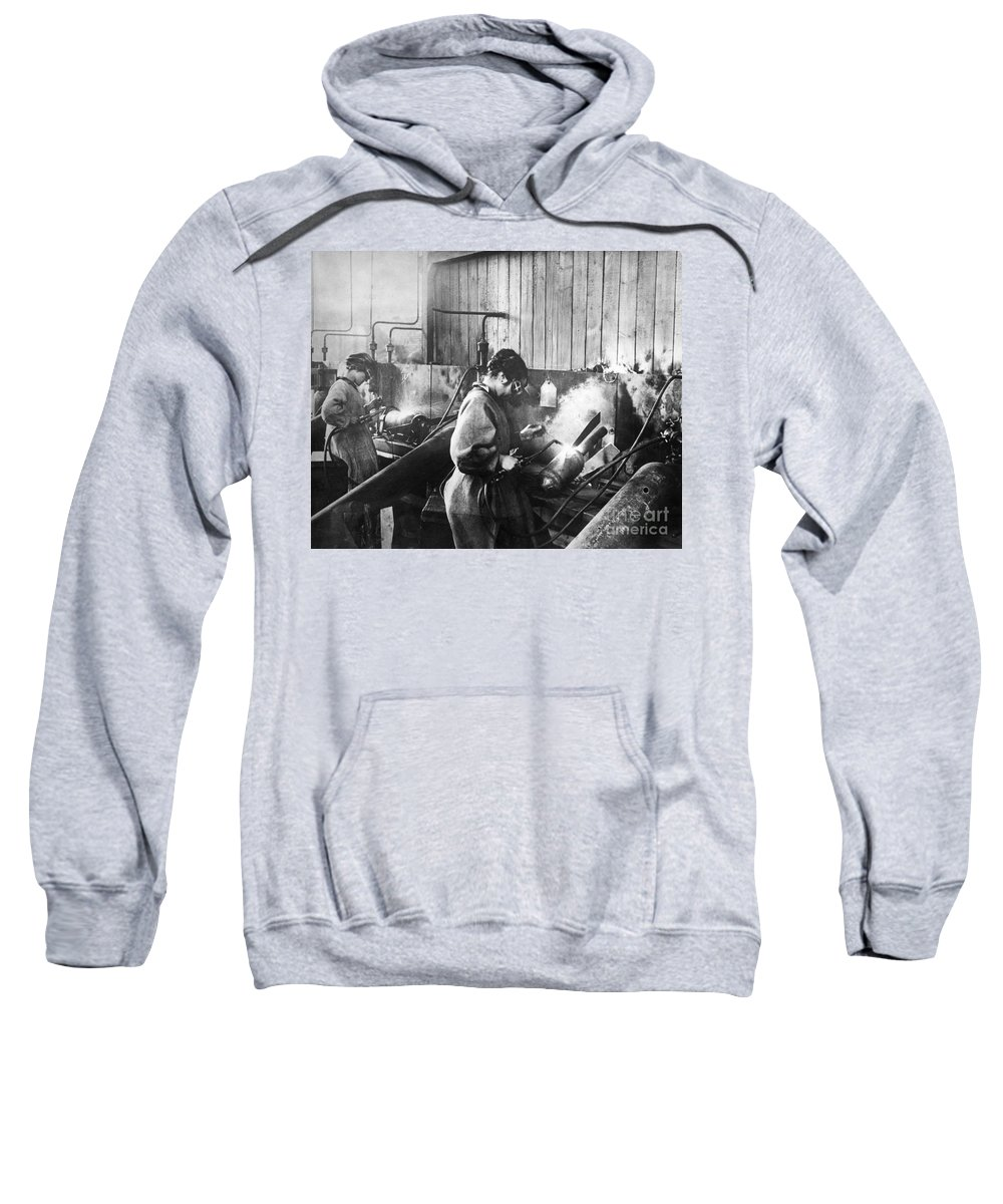 1917 Sweatshirt featuring the photograph World War I: Women Workers by Granger