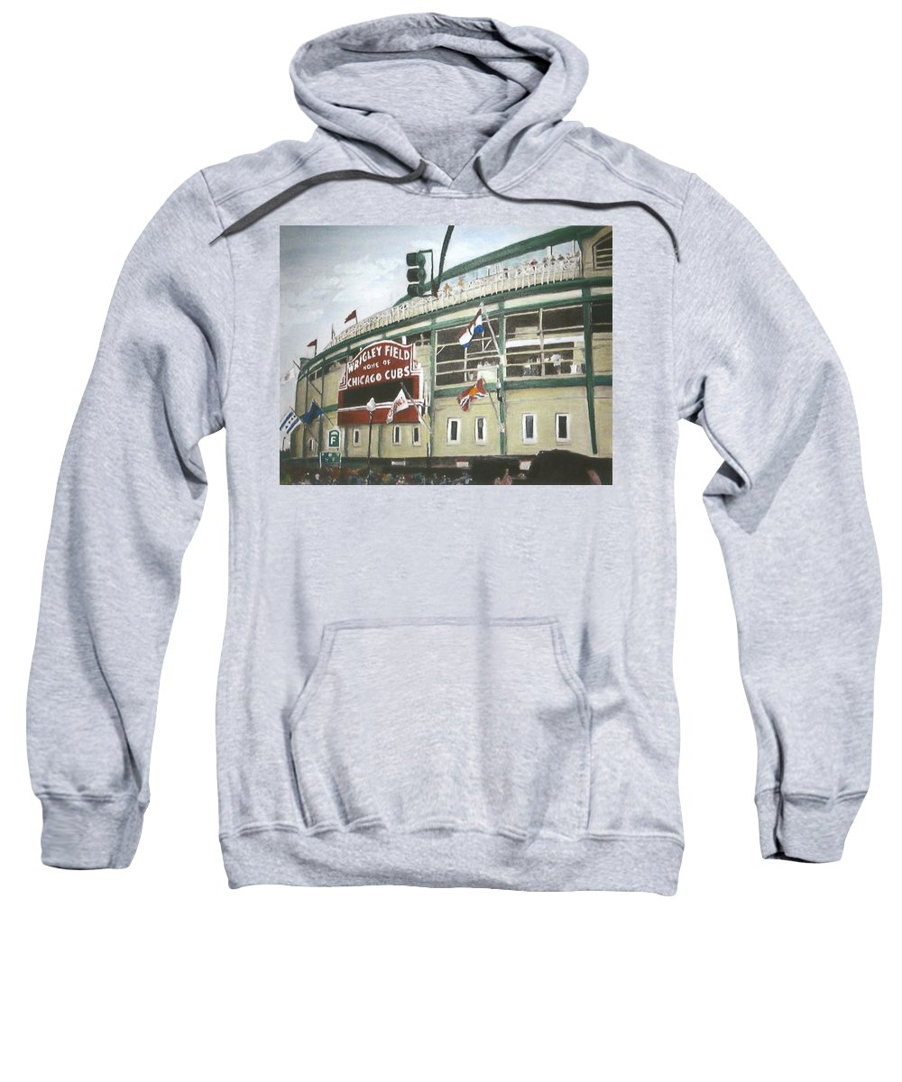 Wrigley Field Sweatshirt featuring the painting Wrigley Field by Travis Day