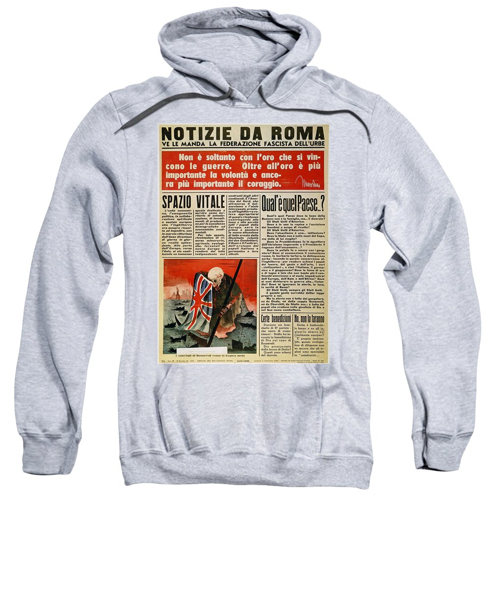 1942 Sweatshirt featuring the photograph Wwii: Italian Newspaper by Granger