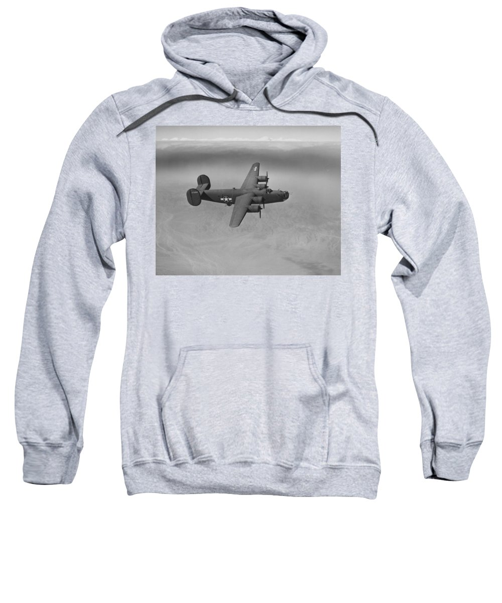 Plane Sweatshirt featuring the photograph Wwii Us Aircraft In Flight by American School