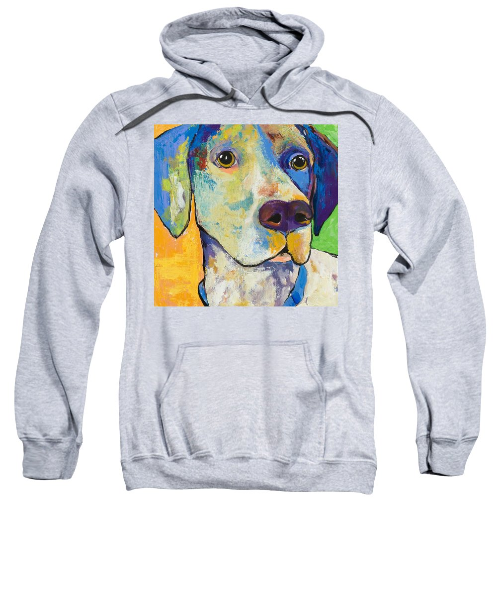 German Shorthair Animalsdog Blue Yellow Acrylic Canvas Sweatshirt featuring the painting Yancy by Pat Saunders-White