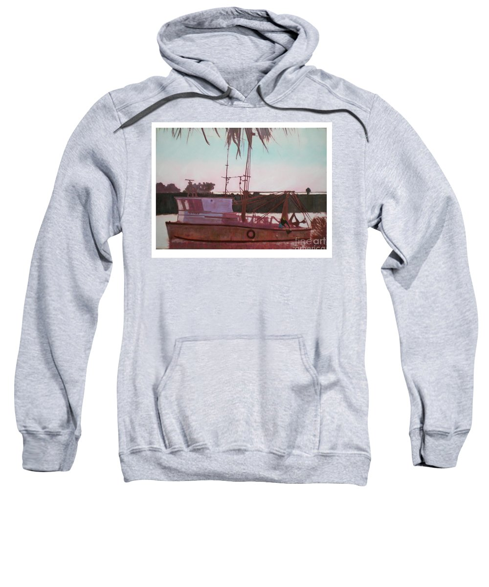 Seascape Sweatshirt featuring the digital art Yankee Town Fishing Boat by Hal Newhouser