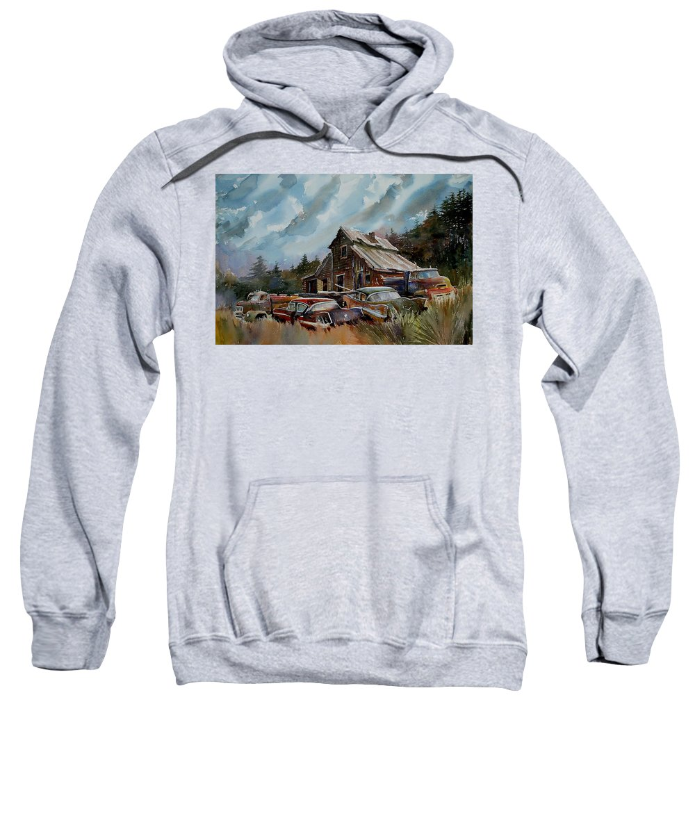 Cars Barn Wrecks Sweatshirt featuring the painting Yardmates by Ron Morrison