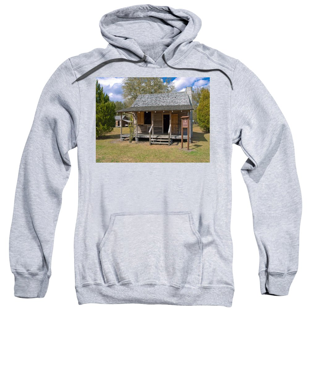 Cabin Sweatshirt featuring the photograph Yates Homestead Built In 1893 On Taylor Creek In Central Florida by Allan Hughes