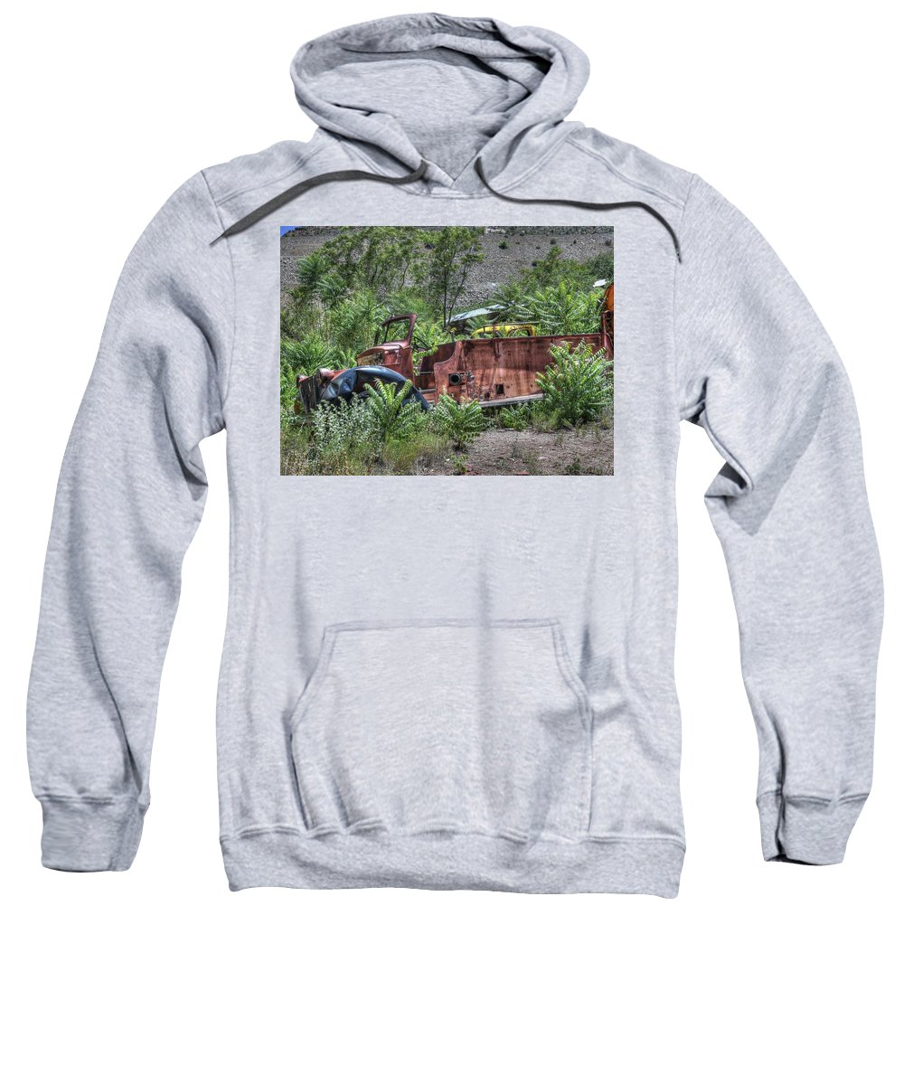 Old Abandoned Stripped Rusty Broken Vandalized Fire Truck Nature Trees Hills Desert Bushes Weeds Color Red Yellow Green Blue Hdr Landscape Sweatshirt featuring the photograph Years Of Public Service by Thomas Todd