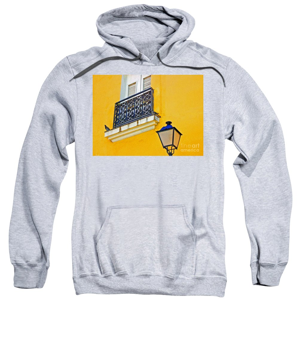 Pigeon Sweatshirt featuring the photograph Yellow Building by Debbi Granruth