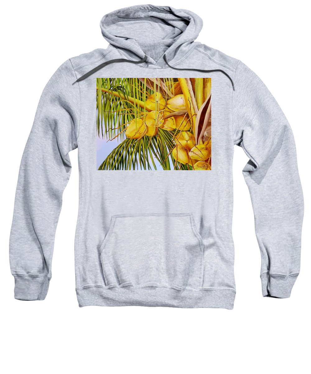 Coconuts Sweatshirt featuring the painting Yellow Coconuts- 01 by Dominica Alcantara
