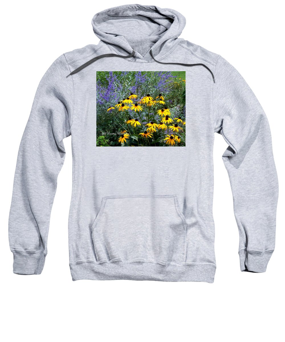 Photography Sweatshirt featuring the photograph Yellow Daisies And Purple Sage by Norma Boeckler