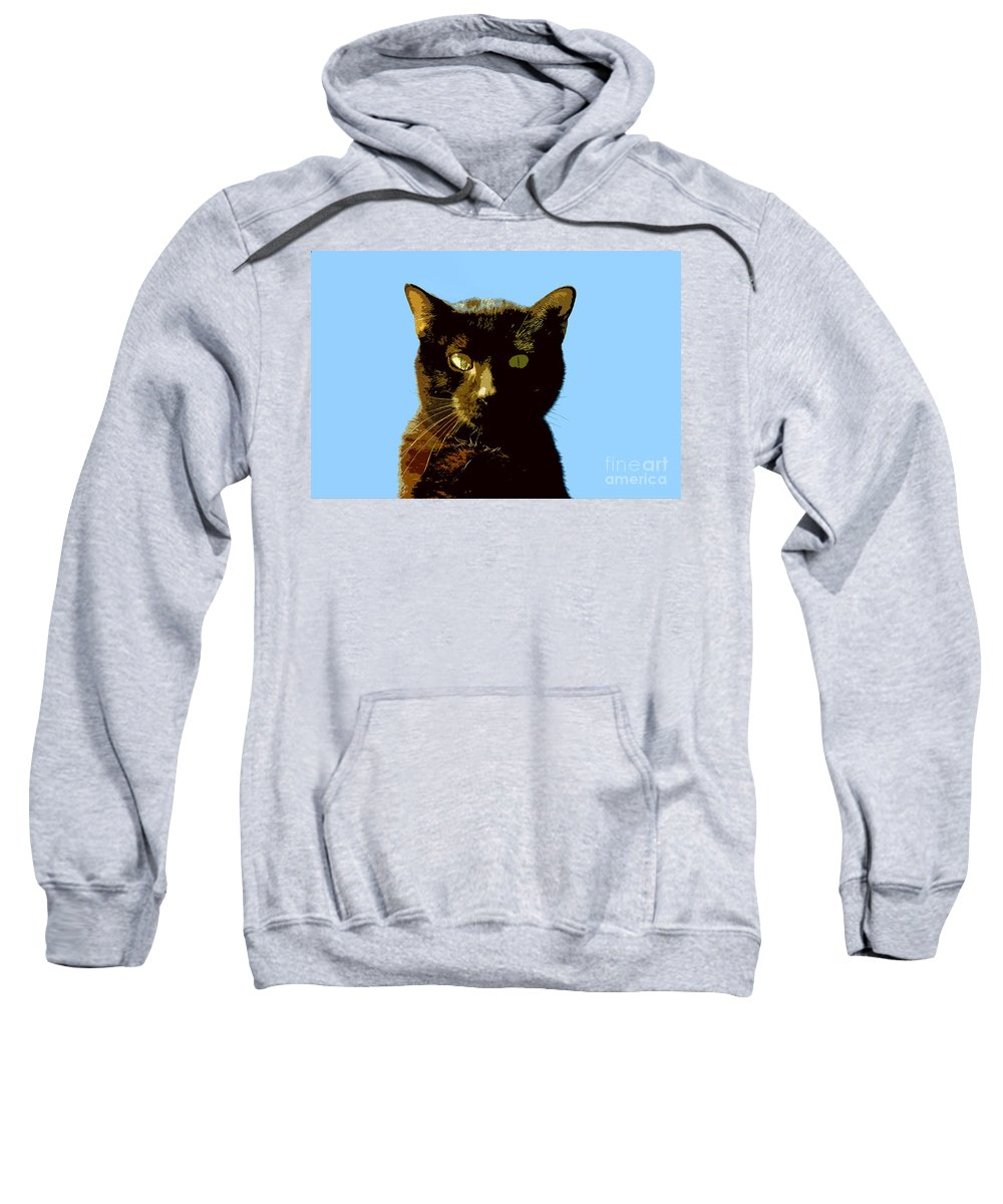 Cat Sweatshirt featuring the painting Yellow Eyes by David Lee Thompson