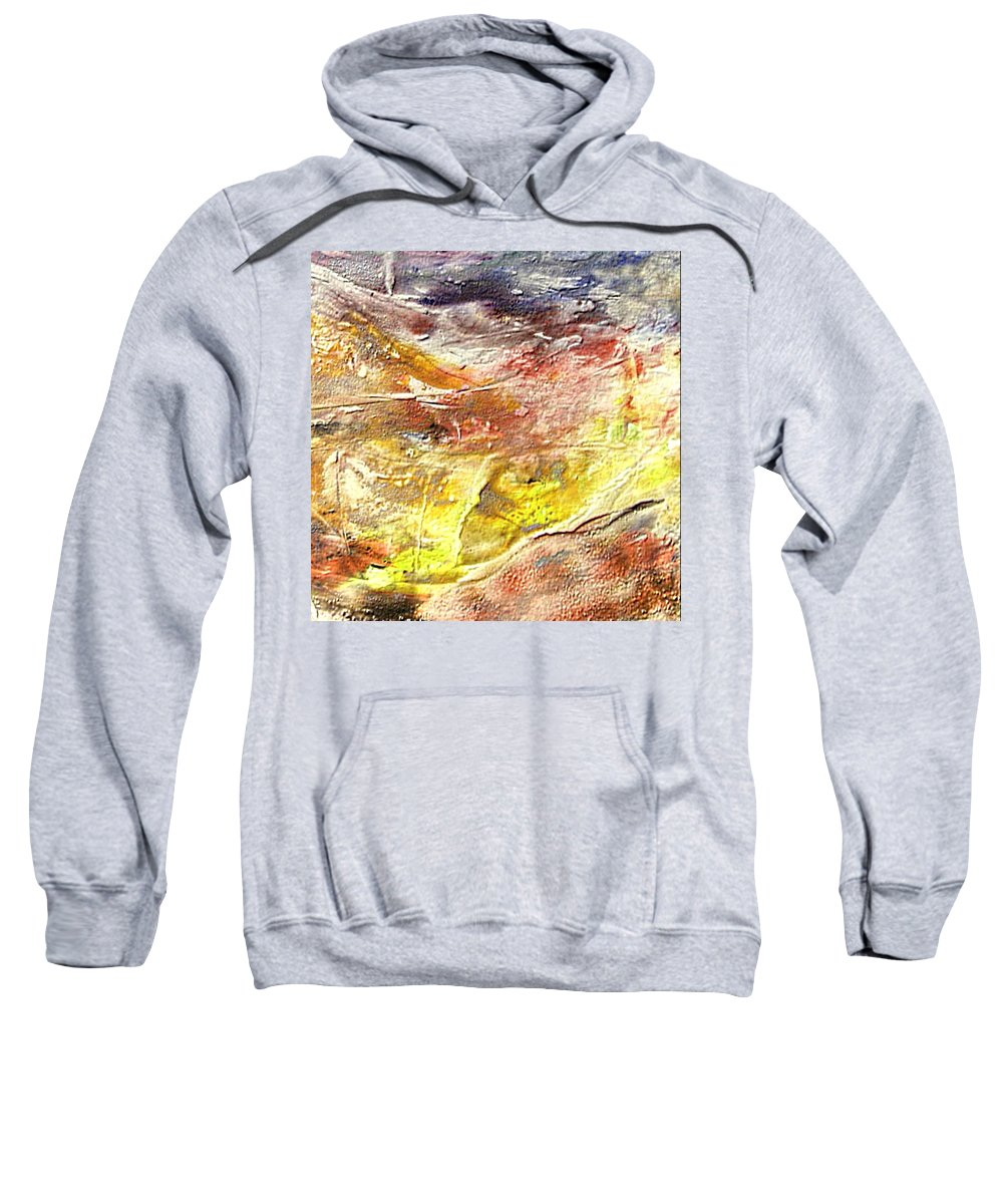 Yellow Field Sweatshirt featuring the painting Yellow Field by Dragica Micki Fortuna