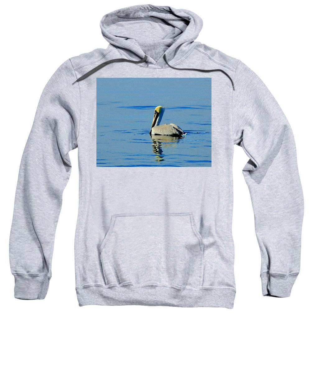 Pelican Sweatshirt featuring the painting Yellow Headed Pelican by Michael Thomas