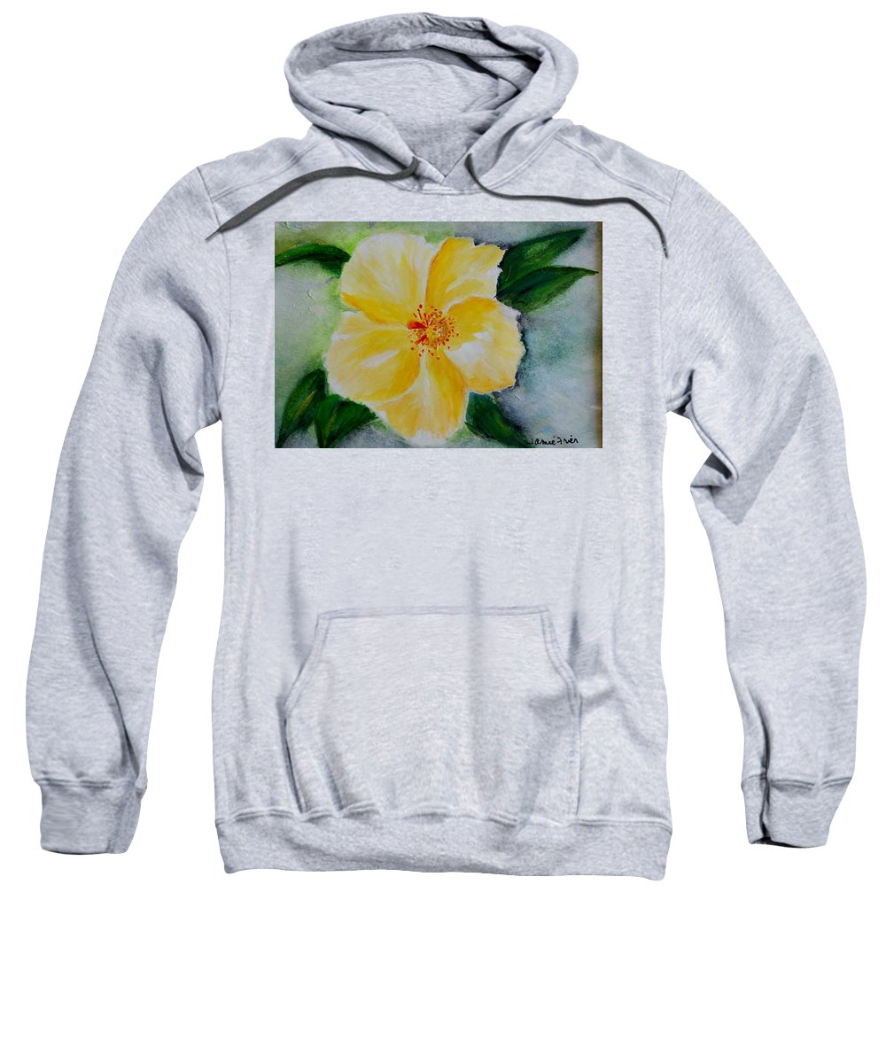 Flower Sweatshirt featuring the painting Yellow Hibiscus by Jamie Frier