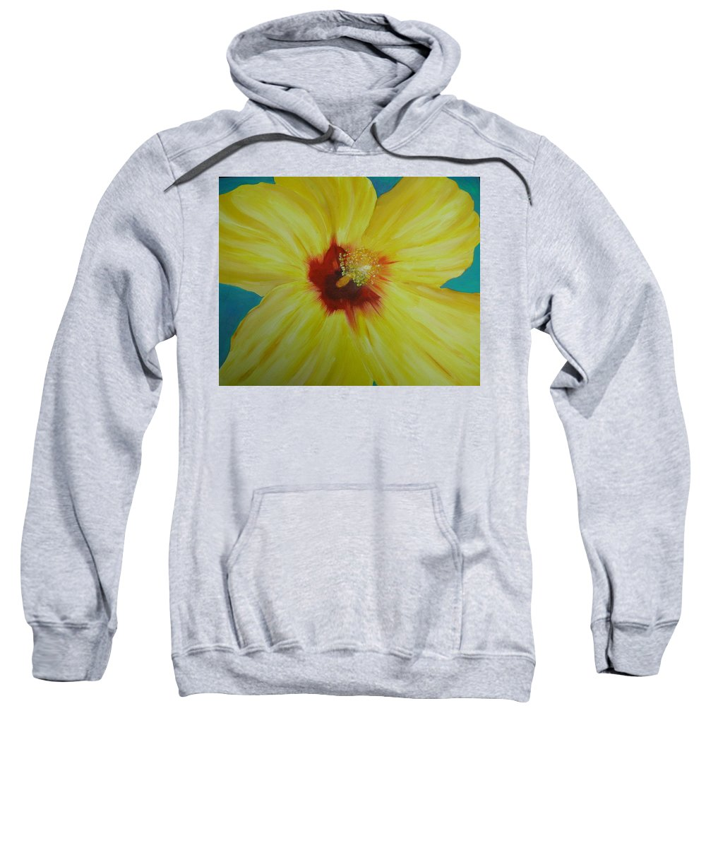 Flower Sweatshirt featuring the print Yellow Hibiscus by Melinda Etzold