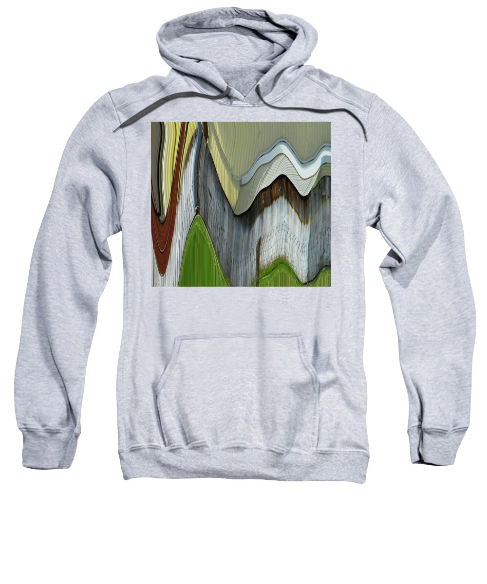 Abstract Sweatshirt featuring the digital art Yellow House by Lenore Senior